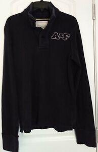 Abercrombie & Fitch Men's Navy Distressed 3 button Henley Sweatshirt Size S