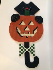 Vintage Handmade Plastic Canvas Halloween Pumpkin Cat Door Wall Decor 26""