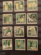 12 POSTER STAMPS VIGNETTES GERMANY LEIBNITZ TET BAHLSEN COOKIE from 1913 WITCH