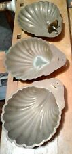 "Vintage Brass Sconces Set of 3 Scallop Sea Shell 10"" As Is"