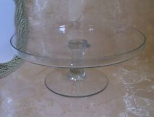 Vintage Glass Footed Cake Stand with upturned Rim  Dimensions 11.25 x 11.25 New