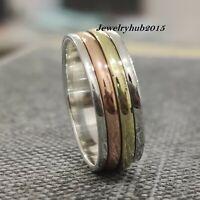 Solid 925 Sterling Silver Spinner Ring  Meditation Ring Statement Ring Size sr60