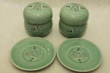 New Korean Celadon Crane Cloud Tea Infuser Cup Lid Saucer Set Of Two