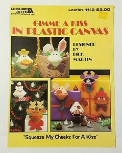 Gimme a Kiss Kisses Kissies Squeezums Squeezies plastic canvas pattern book NEW