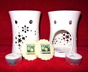 "SET OF 2 Yankee Candle CERAMIC TART WARMER & ""Sparkling Snow"" TARTS & TEALIGHTS"