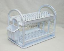 Round Design 2 Layer Plastic Dish Drainer Rack  Utensil Cutlery Draining White