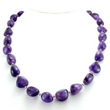 Necklace natural purple amethyst gemstone beaded 925 solid sterling silver 84 gm