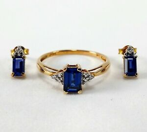 10k Solid Yellow Gold Blue Sapphire Diamond Ring & Earrings Set - Ring Size 7.25