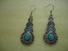 And Turquoise Sparkling Crystal 74E. Dangle Pierced Earrings Tibetan Silver