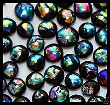 Lot of 12 RIPPLE SPECTRUM Fused Glass DICHROIC Cabochons XS NO HOLE Beads