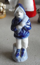 "Vintage JAPAN Blue Porcelain Boy with Bag  Figurine 3 1/2"" Tall"