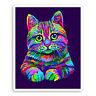 2 x 10cm Cute Cat Face Vinyl Stickers - Cats Kitten Neon Laptop Sticker #30672