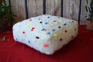 Moroccan Handmade Pouf Berber White Beni Rug Floor Cushion Ottoman Footstool