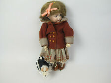 """Rare Bleuette Doll Fully Jointed Custom Painted approx 11 3/8"""" tall with dog."""