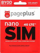 Page Plus 4G LTE Nano Sim Card for BLACKBERRY PRIV Phone SIMCARD New In Package