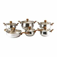 12PC STAINLESS STEEL COOKWARE SAUCEPAN PAN CASSEROLE WITH GLASS LIDS  SET