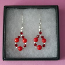 Beautiful Earrings With Red Agate And Crystal Beads 3.5 Cm.Long + Silver Hooks