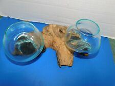 2-LARGE Hand Blown Molten Glass Bowls on a Teak Driftwood Trunk--4