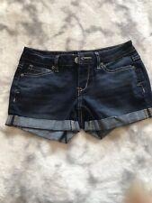 Aeropostale Midi Dark Wash Denim Shorts Cuffed Sz 00