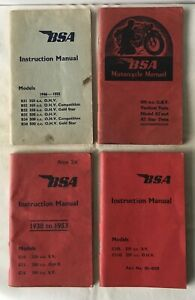BSA Motorcycle Instruction Manuals - 4 Volumes - 1951 to 1961