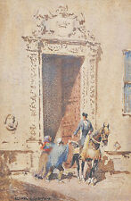 SIR LIONEL LINDSAY (1874-1961) Original Watercolour Doorway Sevilla Spain 1919