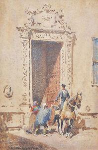 SIR LIONEL LINDSAY (1874-1961) Original Watercolour Doorway Sevilla Spain 1919