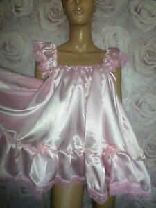 PINK SATIN  ADULT BABY DOLL SISSY  NIGHTIE + PANTIES  SIZE LARGE FRILLY