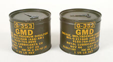 (2) Army Surplus GMD GREASE MOLYBDENUM DISULFIDE G-353 Military 1lb Can - NOS