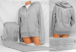 Victoria's Secret Hoodie & Sweat Pants Set Supermodel Glitter Bling Large Gray