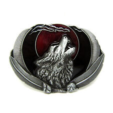 Howling Wolf Eagle Leather Belt Buckle Silver Red Black Metal Wildlife Animal
