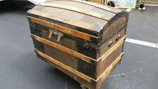 ORIGINAL c.1885 CAMELBACK Antique TRUNK *COLORFUL* Inserts +TRAY Ornate HARDWARE