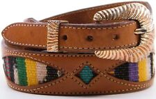 WOMENS LEEGIN SILVER CREEK WESTERN INDIAN BLANKET BROWN TOOLED LEATHER BELT 28