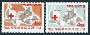 Korea 383-384,384a sheet,hinged.Mi 379-380,Bl.181. Red Cross-100,1963.Dunant,Map