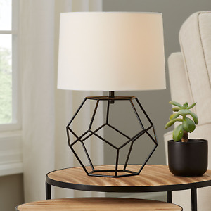 """Mainstays Black Cage Metal Base Table Lamp with Shade, 16"""" Tall"""