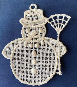 Christmas Decoration/Ornament - cream lace - Snowman