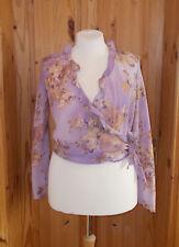 PER UNA lilac mauve purple beige floral chiffon wrap longsleeve blouse top 14 42