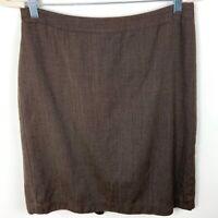 Ann Taylor Brown Wool Blend Career Wear Pencil Skirt Women's Size 10 Knee Length