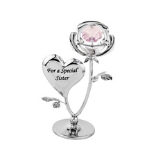 Crystocraft Special Sister Rose Crystal Ornament Swarovski Elements Gift Boxed