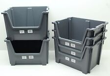 USED 5 x Heavy Duty Plastic Storage Box / Boxes With Scooped Open Front Free P&P