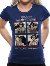 Wonder Woman Womens Ladies Fitted T-Shirt Top Retro Squares M UK 10-12