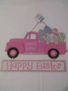 Happy Easter Pink Vintage Truck Sign