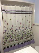 Botanical Butterfly Garden Purple Green Floral Shower Curtain Bathroom Decor