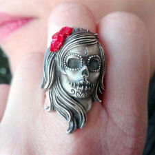 Stainless Steel Flower Sugar Skull Ring Catrina Calavera Rings Women Punk Rings