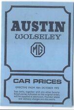 Austin Wolseley mg Reino Unido lista de precios 1972 Mini 1300 1800 Taxi