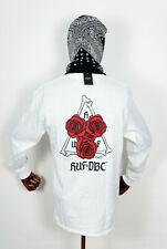 Huf Worldwide Skate Shoes Longsleeve LS T-Shirt Tee Bones & Roses TT White in M