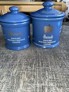 Rare Harrods Cheese Ceramic Jars Set Vtg Htf X2 300G & 210G Retro Canister Pots