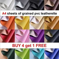A4 sheets of PVC GRAINED LEATHERETTE faux leather craft fabric .BUY 4 GET 1 FREE