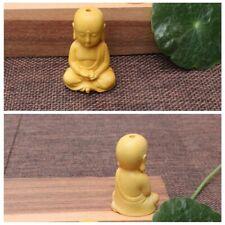 Chinese Boxwood Wood Carving Little Monk  Buddha Amulet Pendant Ornaments