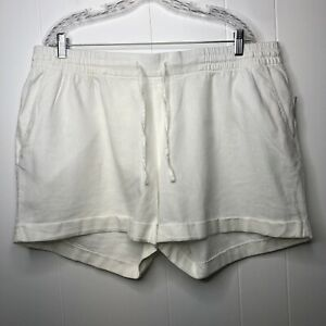 Old Navy Linen shorts women's size XL White drawstring waist cuffed pockets NWT