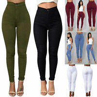 Women Pencil Stretch Denim Skinny Jeans Pants High Waist Slim Jeans Trousers